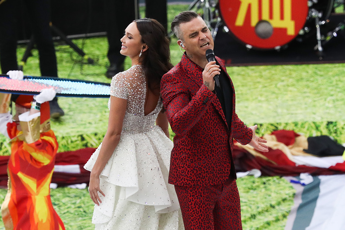 Aida Garifullina and Robbie Williams perform at the opening ceremony of the 2018 FIFA World Cup