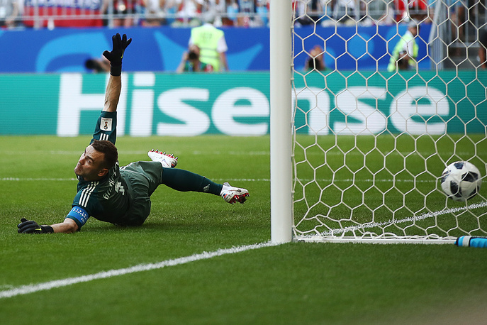 Russia's goalkeeper Igor Akinfeyev concedes a goal in Group A match between Russia and Uruguay at Samara Arena, June 25. Uruguay won 3-0