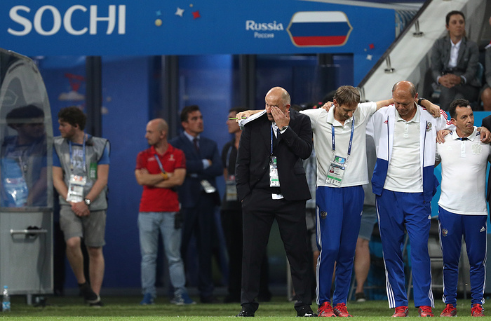 Russia's coach Stanislav Cherchesov react during a penalty shootout in the 2018 FIFA World Cup Quarterfinal match between Russia and Croatia at Fisht Stadium in Sochi. Croatia won the game on penalties 4-3.