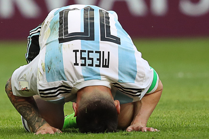 Argentina's Lionel Messi in the 2018 FIFA World Cup round of 16 football match against France at Kazan Arena Stadium