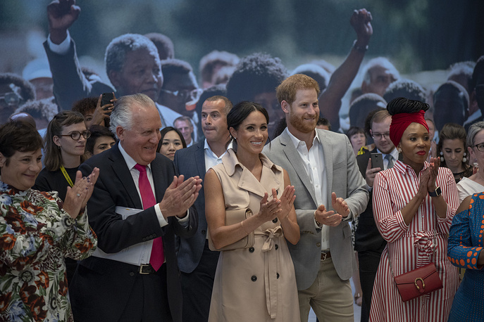 Britain's Prince Harry and Meghan the Duchess of Sussex attend the launch of the Nelson Mandela Centenary Exhibition, marking the 100th anniversary of anti-apartheid leader's birth, at the Queen Elizabeth Hall in London, July 17