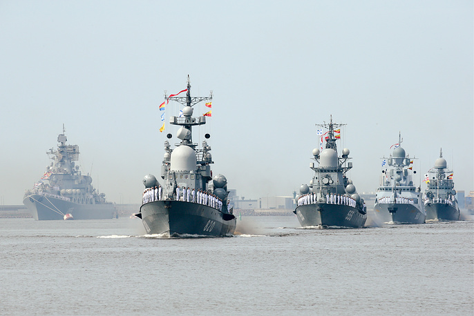 Warships taking part in the dress rehearsal of a naval parade marking the Day of the Russian Navy in Saint Petersburg