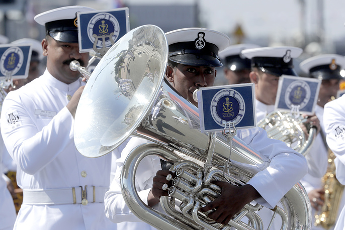 A military band performing during the main naval parade in Saint Petersburg