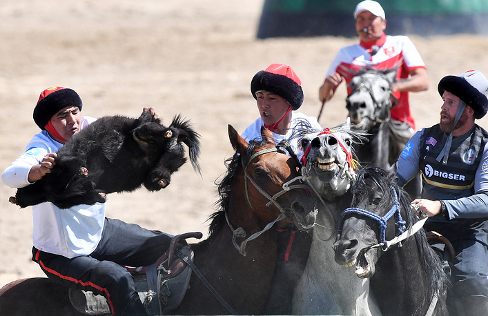 Sports include eagle hunting, bone throwing and kok-boru, a Central Asian form of polo in which two teams battle for control of a decapitated goat carcass