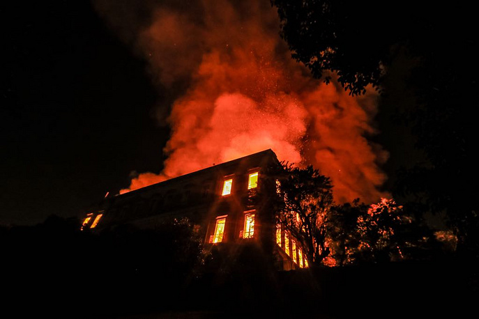 A fire burns at the National Museum of Brazil in Rio de Janeiro, September 2. The museum housed several landmark collections including Egyptian artefacts and the oldest human fossil found in Brazil. Its collection included more than 20 million items ranging from archaeological findings to historical memorabilia