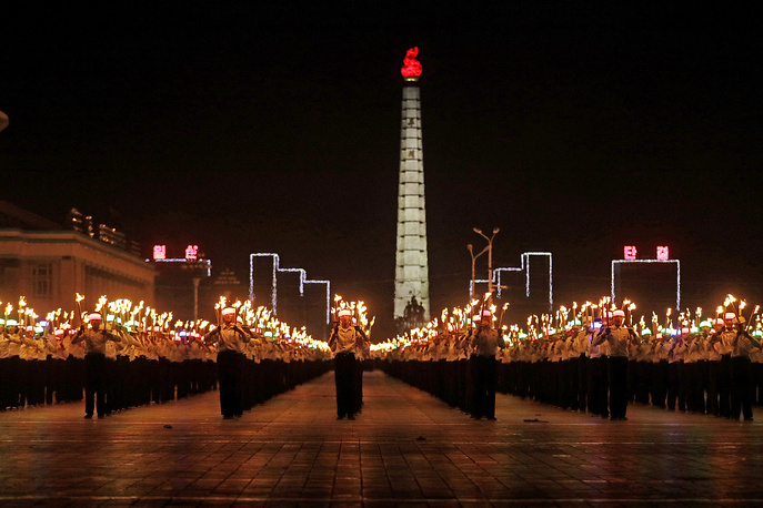 A torch light march at the Kim Il Sung Square in Pyongyang