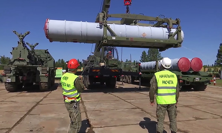 The S-400 missile systems seen during the Vostok-2018 military exercise