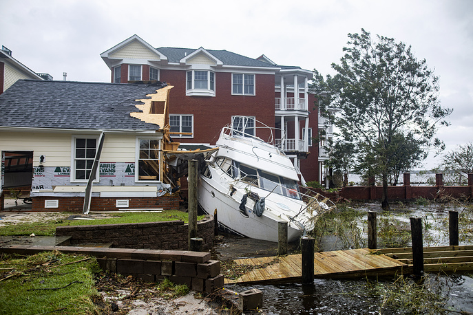 A destroyed boat after Hurricane Florence tore through New Bern, North Carolina