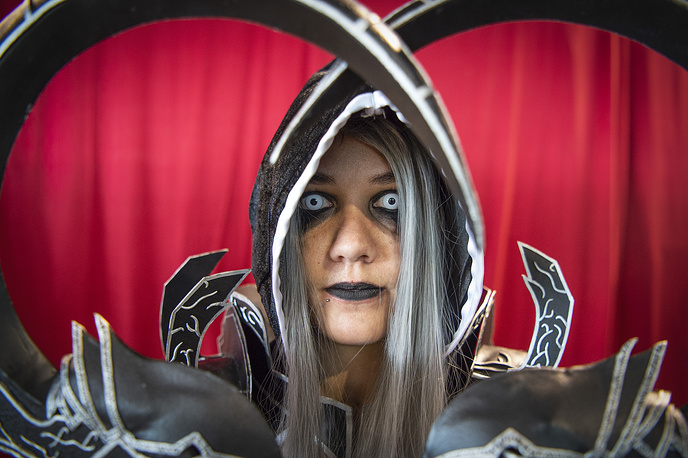 A cosplayer at the Zurich Game Show game fair, September 16