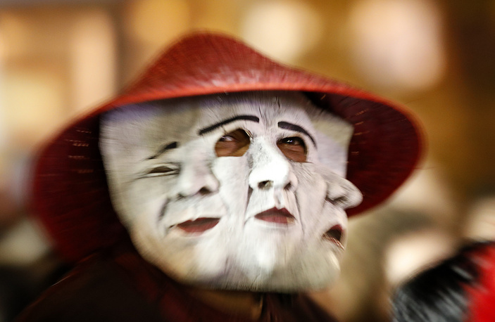 A man takes part in 45th annual Greenwich Village Halloween Parade in New York