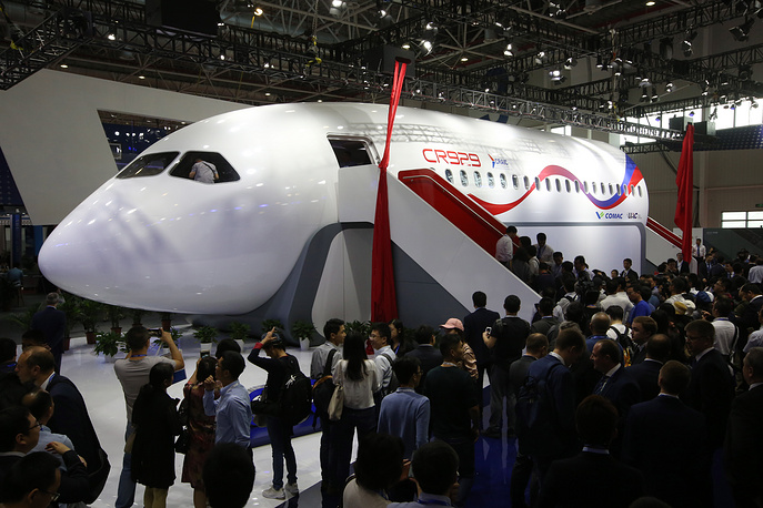 A mock-up of the CRAIC CR929 airliner is displayed during the 12th China International Aviation and Aerospace Exhibition, also known as Airshow China 2018 in Zhuhai city, south China's Guangdong province