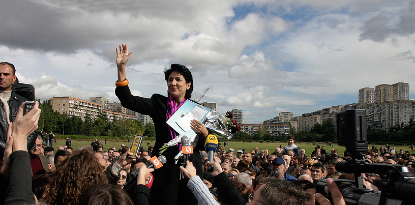 Former foreign minister of Georgia Salome Zurabishvili delivers a speech at the rally against her dismissal, 2005