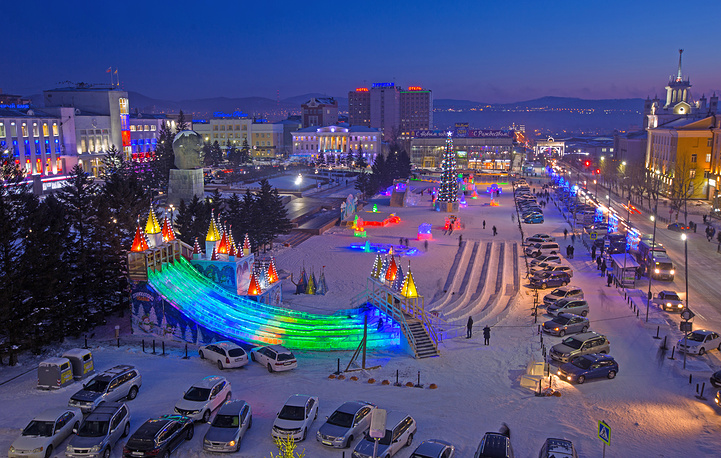 Decorations in Lenin Square in Ulan-Ude
