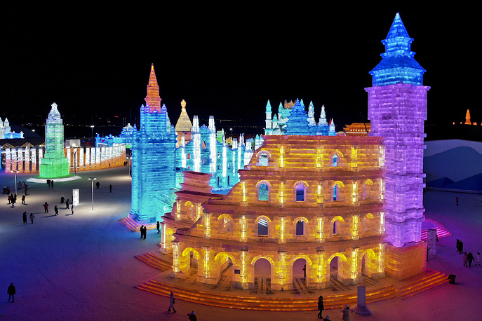 Colorful castle-like structures at the Harbin International Ice and Snow festival