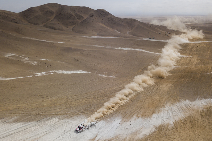Nasser Al-Attiyah of Toyota Gazoo Racing SA races during stage four of the Dakar Rally from Arequipa to Tacna, Peru