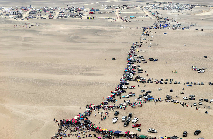 An aerial view of the arrival camping during the first stage of the Dakar Rally 2019, between Lima and Pisco, in Peru, January 7