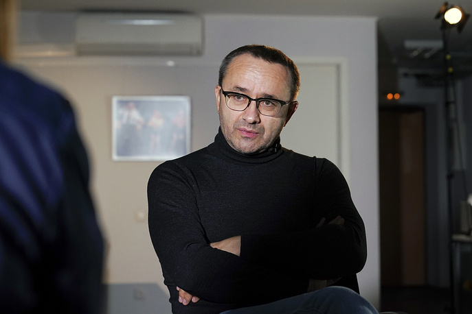 Andrei Zvyagintsev giving an interview to The Associated Press in Moscow, 2018