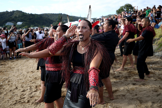 The Waka are welcomed onto the beach at Waitangi, New Zealand, February 6. The Waitangi Day national holiday celebrates the signing of the treaty of Waitangi on February 6, 1840 by Maori chiefs and the British Crown, that granted the Maori people the rights of British Citizens and ownership of their lands and other properties