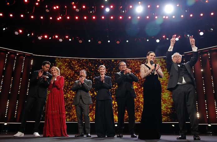 Festival director Dieter Kosslick and members of the International Jury Juliette Binoche, Trudie Styler, Rajendra Roy, Sandra Hueller, Justin Chang and Sebastian Lelio at the opening ceremony of the 69th Berlin Film Festival in Berlin, February 7