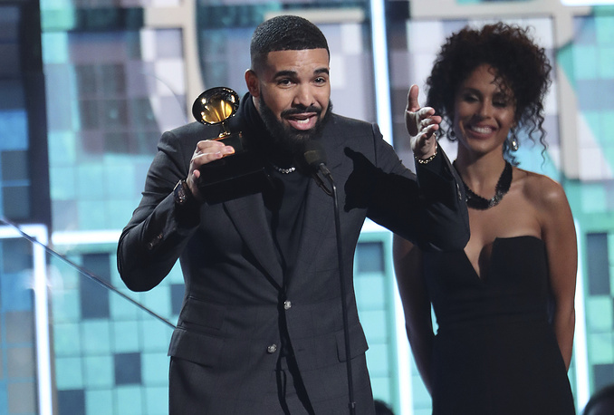"Drake accepts the award for best rap song for ""God's Plan"""