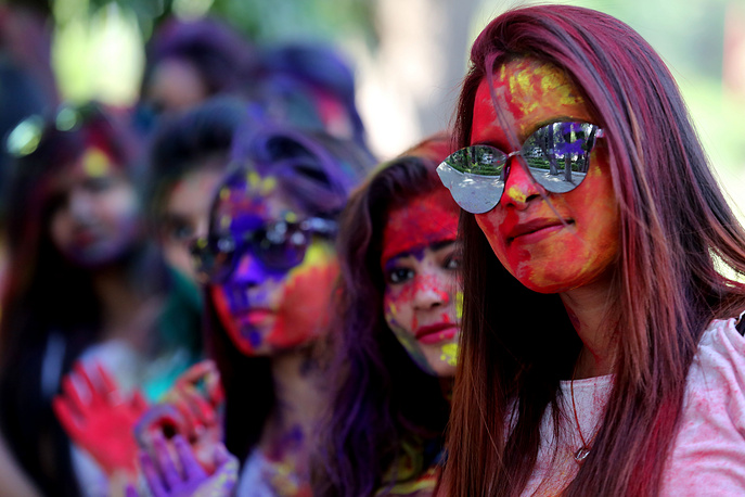 Holi festival is marked at the end of the winter season on the last full moon day of the lunar month Phalguna, which usually falls in the later part of February or March