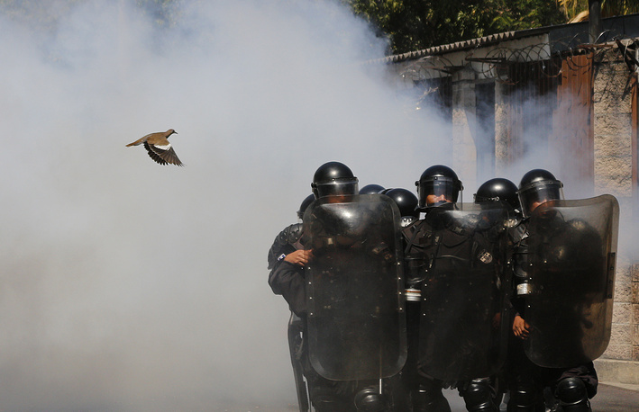 A bird flying near riot police during a protest against the intention of the National Congress to put the water service in hands of the private sector in San Salvador, El Salvador, March 20