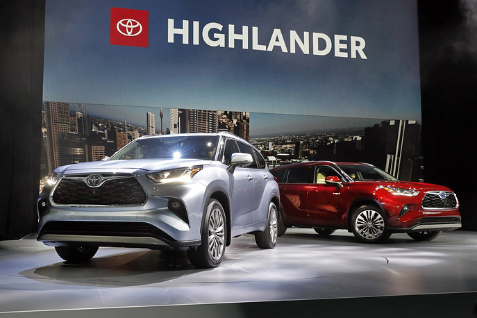 The 2020 Toyota Highlander is presented at the 2019 New York International Auto Show