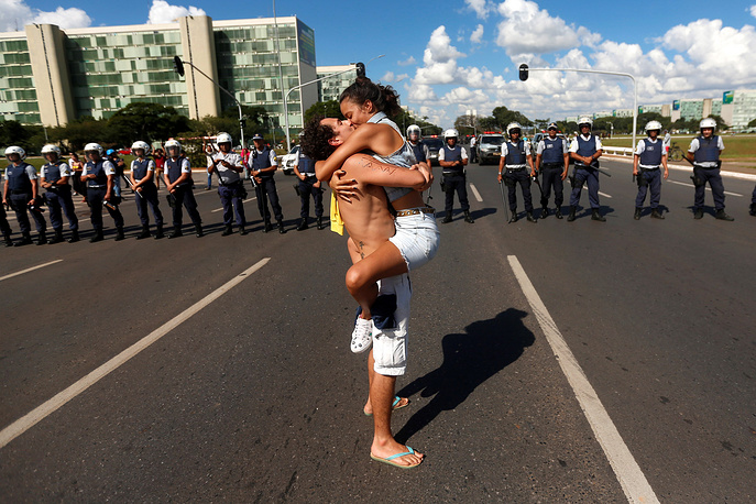 Protesters demonstrate against the public education cuts announced by Brazilian President Jair Bolsonaro, Brasilia, May 15