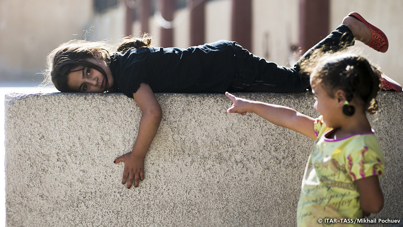 September 19. Refugee girls staying in one of Damascus schools.