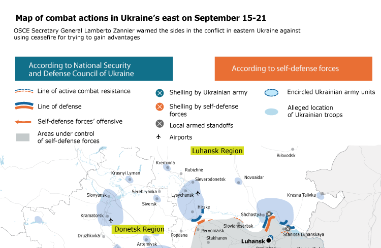 Map of combat actions in Ukraine's east on September 15-21