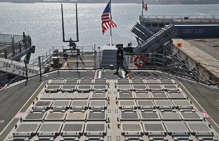 Missile launch pads on the deck of the US ship in the Black Sea port of Constanta, Romania AP Photo/Vadim Ghirda