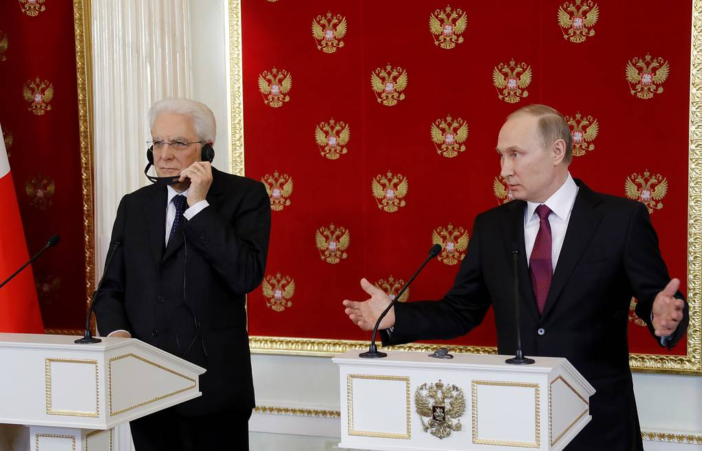 Italian and Russian presidents, Sergio Mattarella and Vladimir Putin Mikhail Metzel/TASS