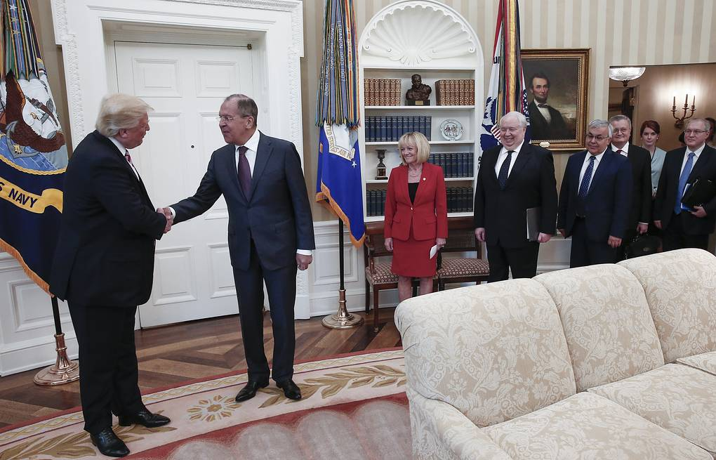 US President Donald Trump, Russia's Foreign Minister Sergei Lavrov and Russia's Ambassador to the US Sergei Kislyak at the White House Alexander Shcherbak/TASS