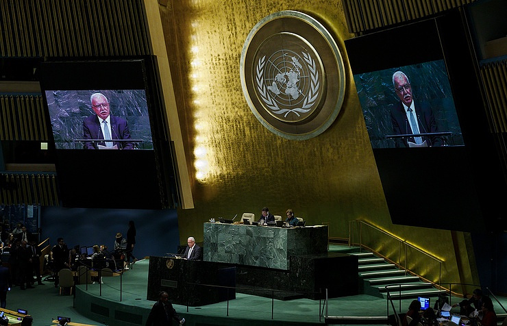 Palestinian Foreign Minister Riyad Al-Maliki addressing the Special Session of the UN General Assembly in New York on December 21 EPA-EFE/JUSTIN LANE