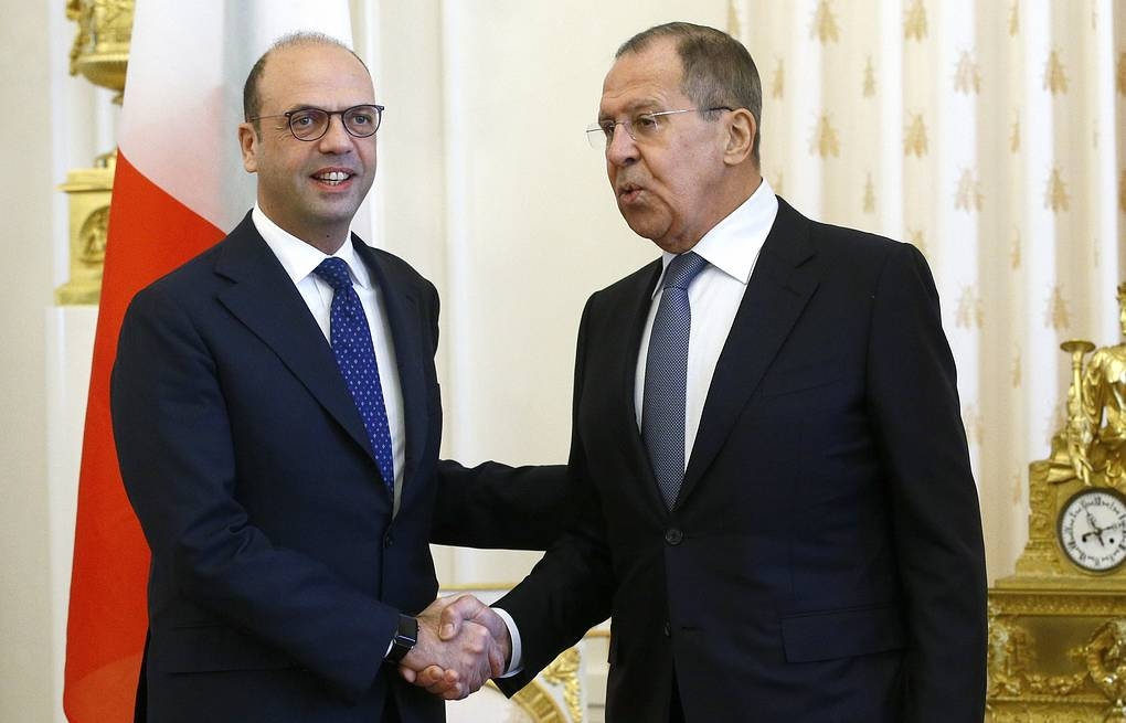 Italian and Russian Foreign Ministers, Angelino Alfano and Sergey Lavrov Alexander Shcherbak/TASS