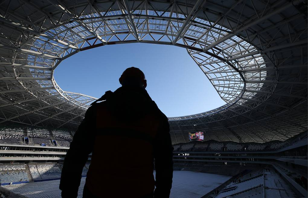 A worker at the construction site of Samara Arena, one of the venues of the upcoming 2018 FIFA World Cup Yegor Aleyev/TASS