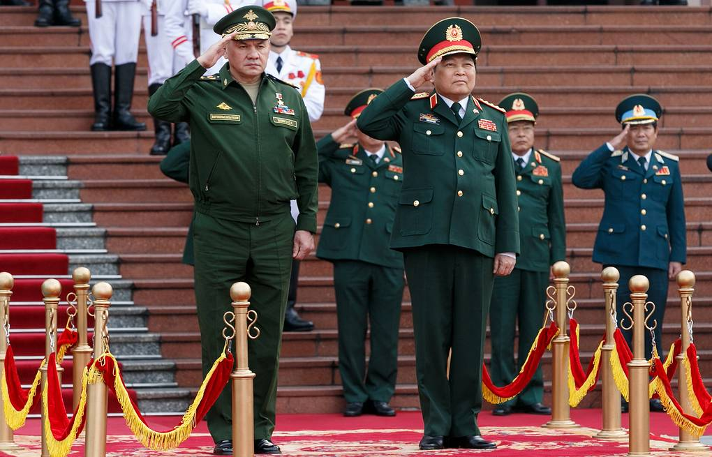 Russian Defense Minister Sergei Shoigu and his Vietnamese counterpart General Ngo Xuan Lich  Vadim Savitsky/Press Office of the Defense Ministry of Russia/TASS