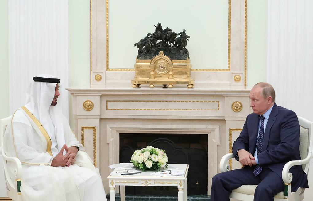 Crown Prince of Abu Dhabi Sheikh Mohammed bin Zayed Al-Nahyan and Russian President Vladimir Putin Mikhail Klimentyev/Russian Presidential Press and Information Office/TASS
