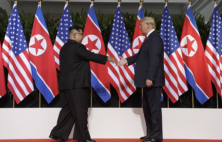 Leader of North Korea Kim Jong-un and US President Donald Trump  AP Photo/Evan Vucci