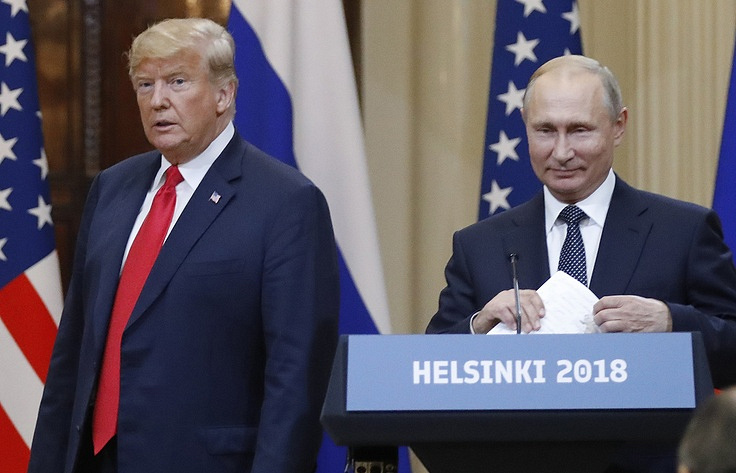 US President Donald Trump and Russian President Vladimir Putin in Helsinki AP Photo/Alexander Zemlianichenko