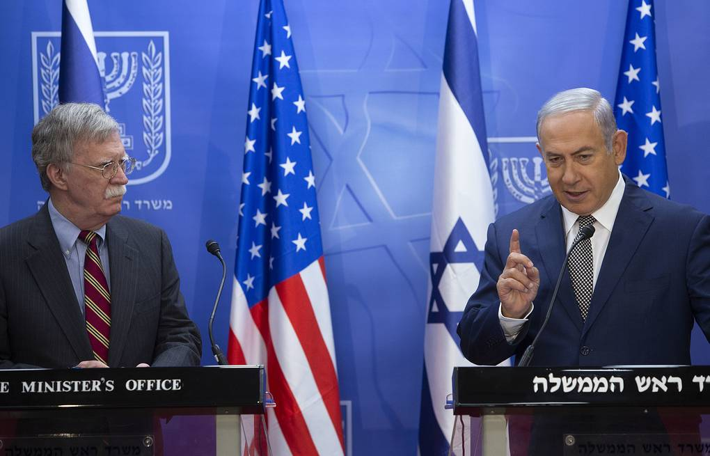 Israeli Prime Minister Benjamin Netanyahu and US national security adviser John Bolton AP Photo/Sebastian Scheiner, Pool