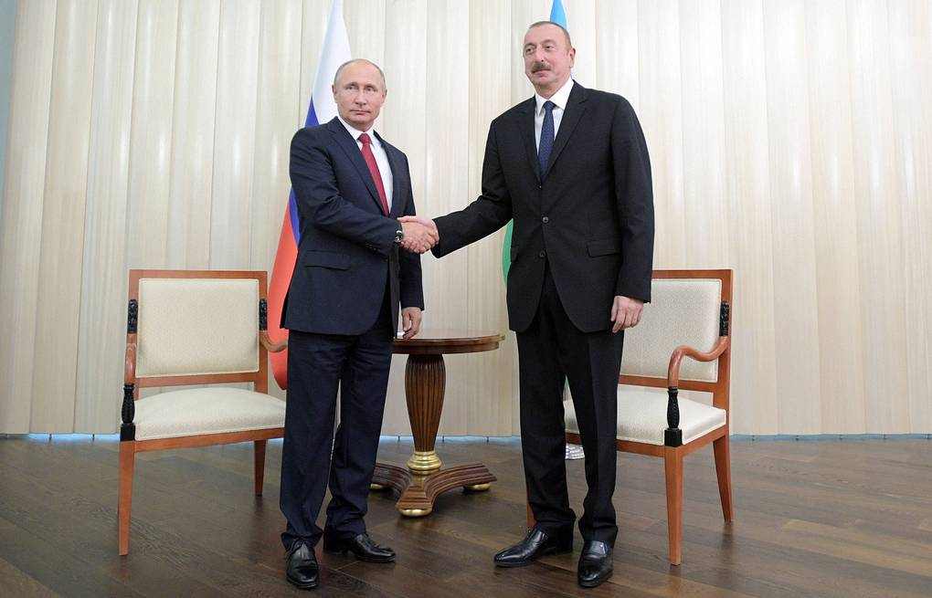 Russia's President Vladimir Putin and Azerbaijan's President Ilham Aliyev Alexei Druzhinin/Russian Presidential Press and Information Office/TASS