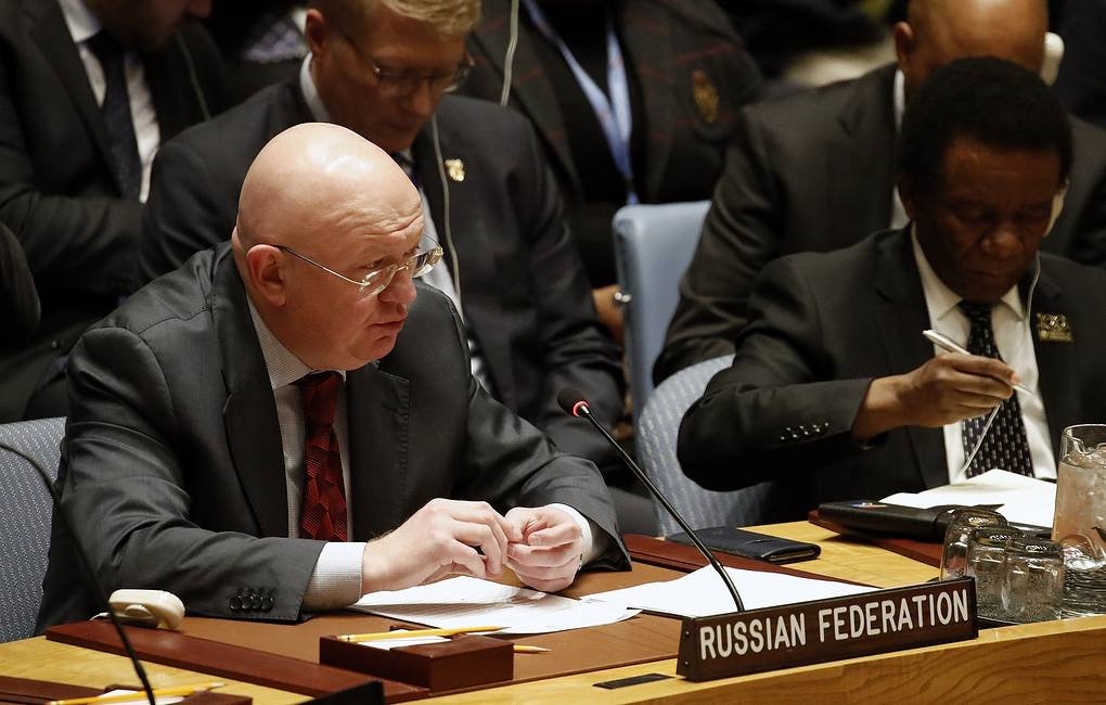 Russia's Permanent Representative to the United Nations Vassily Nebenzia EPA-EFE/JASON SZENES