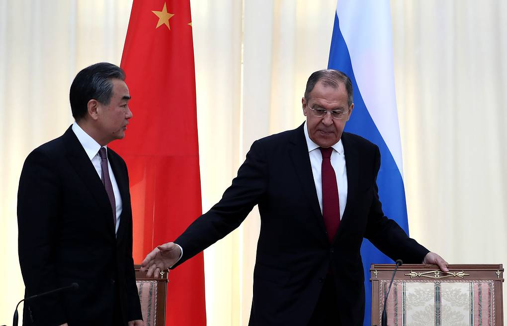 Chinese Foreign Minister Wang Yi and Russian Foreign Minister Sergey Lavrov Anton Novoderezhkin/TASS