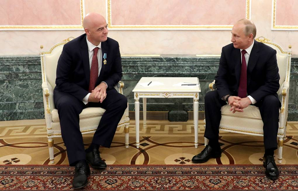 FIFA President Gianni Infantino and Russian President Vladimir Putin Mikhail Klimentyev/Russian Presidential Press and Information Office/TASS