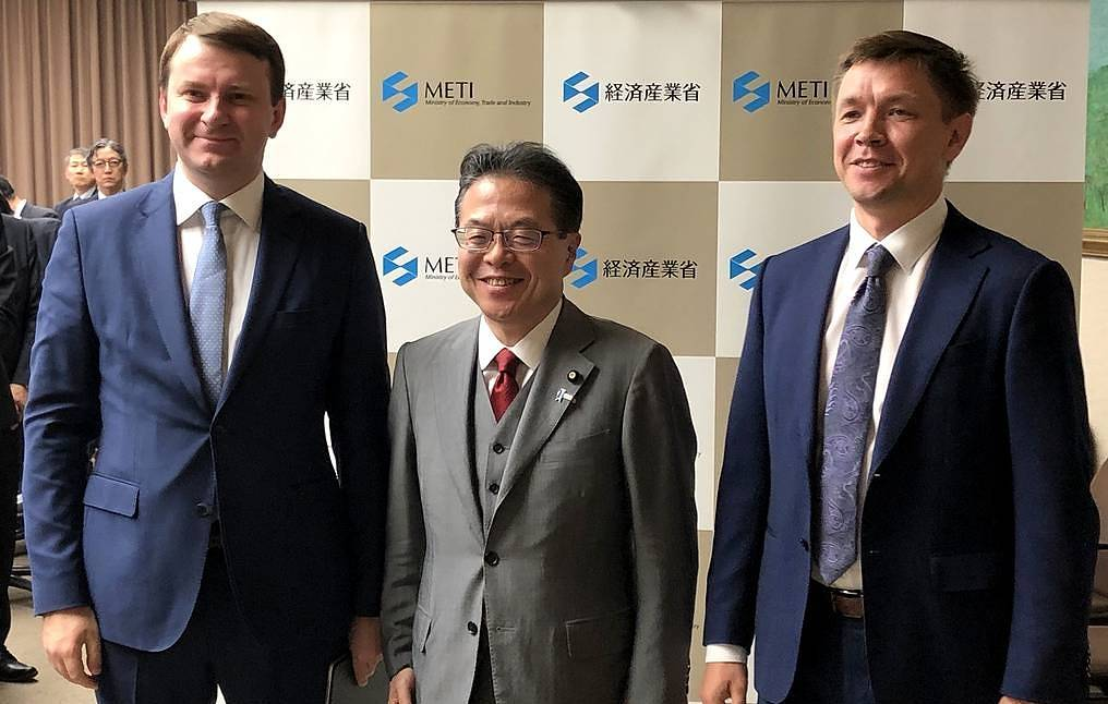 Maxim Oreshkin (left), Russia's Minister of Economic Development, Hiroshige Seko, Minister of Economy, Trade and Industry of Japan, and Konstantin Noskov, Russia's Minister of Digital Development, Communications and Mass Communications Igor Belyaev/TASS