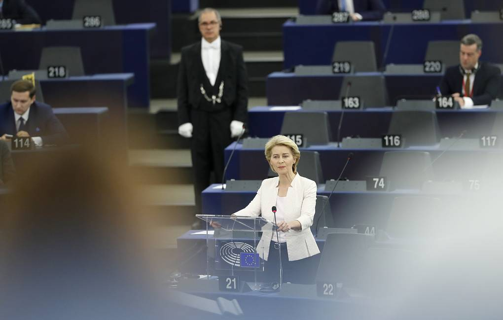 Germany's Ursula von der Leyen delivering her speech at the European Parliament in Strasbourg AP Photo/Jean-Francois Badias