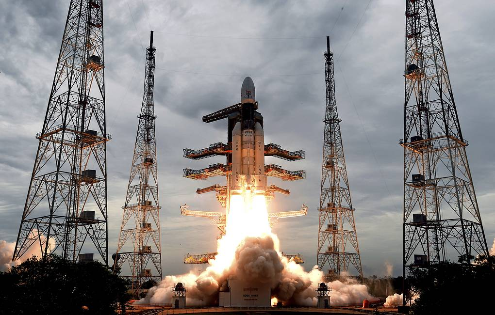 Geosynchronous Satellite launch Vehicle (GSLV) MkIII carrying Chandrayaan-2  Indian Space Research Organization via AP