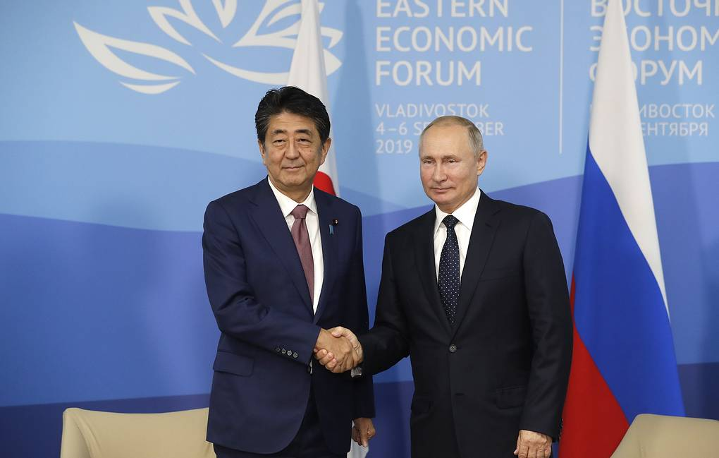 Japanese Prime Minister Shinzo Abe and Russian President Vladimir Putin Mikhail Metzel/TASS Host Photo Agency
