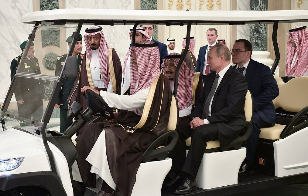 His Majesty King Salman of Saudi Arabia, center, and Russian President Vladimir Putin, next to him, right Alexei Nikolsky/Russian president's press service/TASS